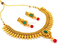 Traditional South Indian Jewelry-South Indian Necklace Set-Wholesale One Gram Gold Jewellery