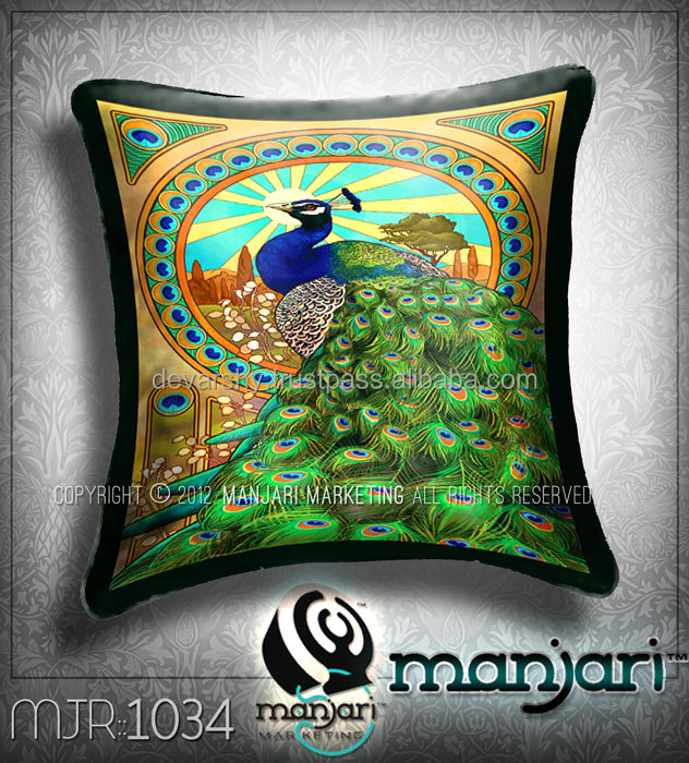 Digital Print Beautiful Peacock Design Cushion Cover