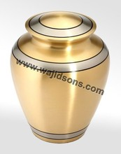 DECORATIVE STANDING FLOOR METAL CREMATION USED URN | OUTDOOR GARDEN USED URN | BRASS PLATED METAL MADE URN