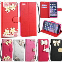 Flower Diamond Crystal Magnetic Flip Leather Wallet Case Cover For iPhone 6 4.7