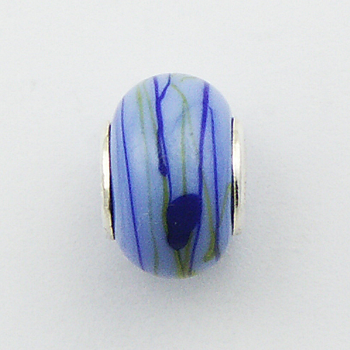 Blue Duo-Tone Green Glass Threads Murano Glass Bead
