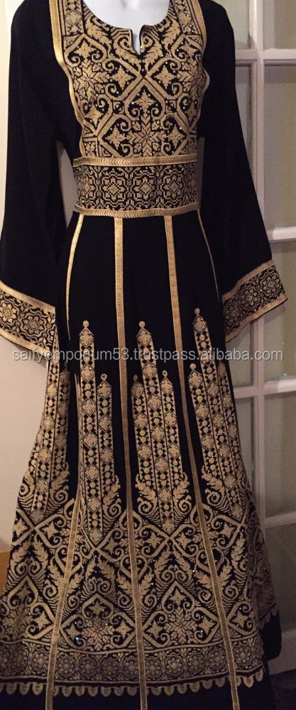 Stunning Royal dress Abaya Tobe Thobe kaftan with Golden Palestinian Cross Stitch Embroidery
