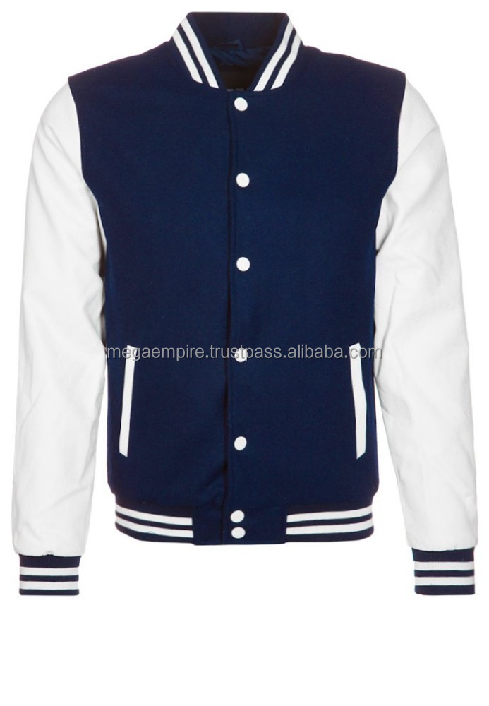 Blue And White Varsity Jackets/ 2015 Wholesale Custom Varsity Jacket, Leather Jacket for Men