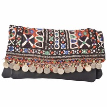 ANTIQUE BANJARA HAND MADE EMBROIDERY INDIAN OLD COIN BEADED WOMEN CLUTCH BAG