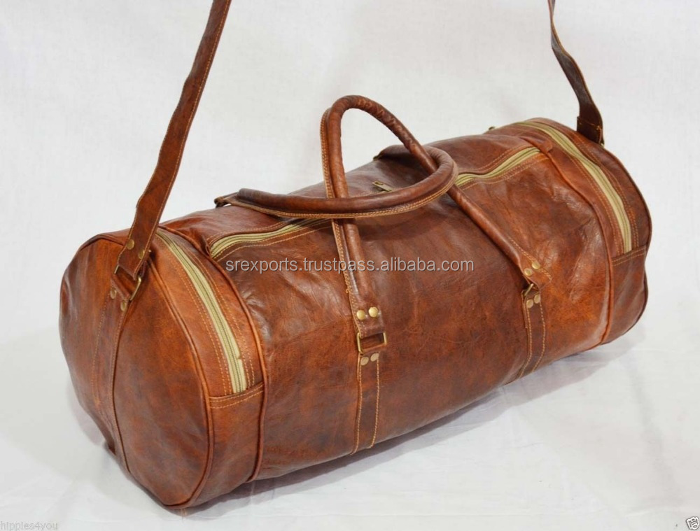 Real Goat Leather Vintage Travel Luggage Bag Shoulder Gym Duffle Bag Cross Body Satchel Sling Bag