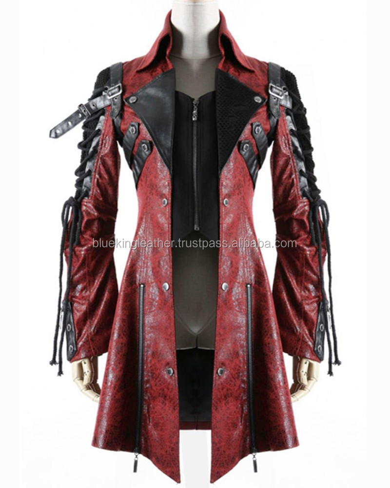 Mens Red Black Faux Leather Goth Steampunk Military Coat - Buy ...