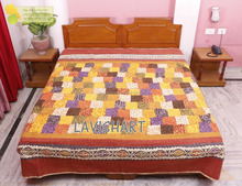 Indian Handmade Vintage Elephant Queen Cotton Associated Patch Kantha Quilt Bedspread Blaknt Gudri RH02
