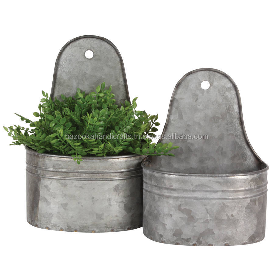 Wall Planter, Galvanised Planter, Outdoor And Indoor Wall Planter