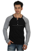 t shirt men long sleeves t shirt with large round neck and bouttons