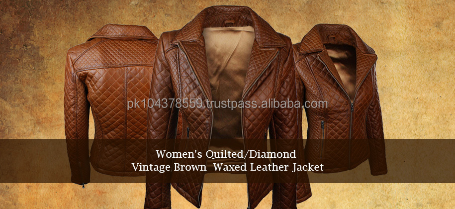 2017 Hot Sale Womens Best Quilted Fashion Diamond Vintage Brown Waxed Leather Jacket In Pakistan