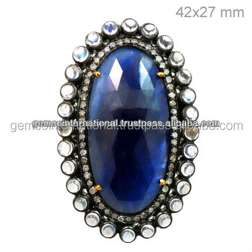 14k Yellow Gold Pave Diamond Oval Shape Blue Sapphire Ring Jewelry
