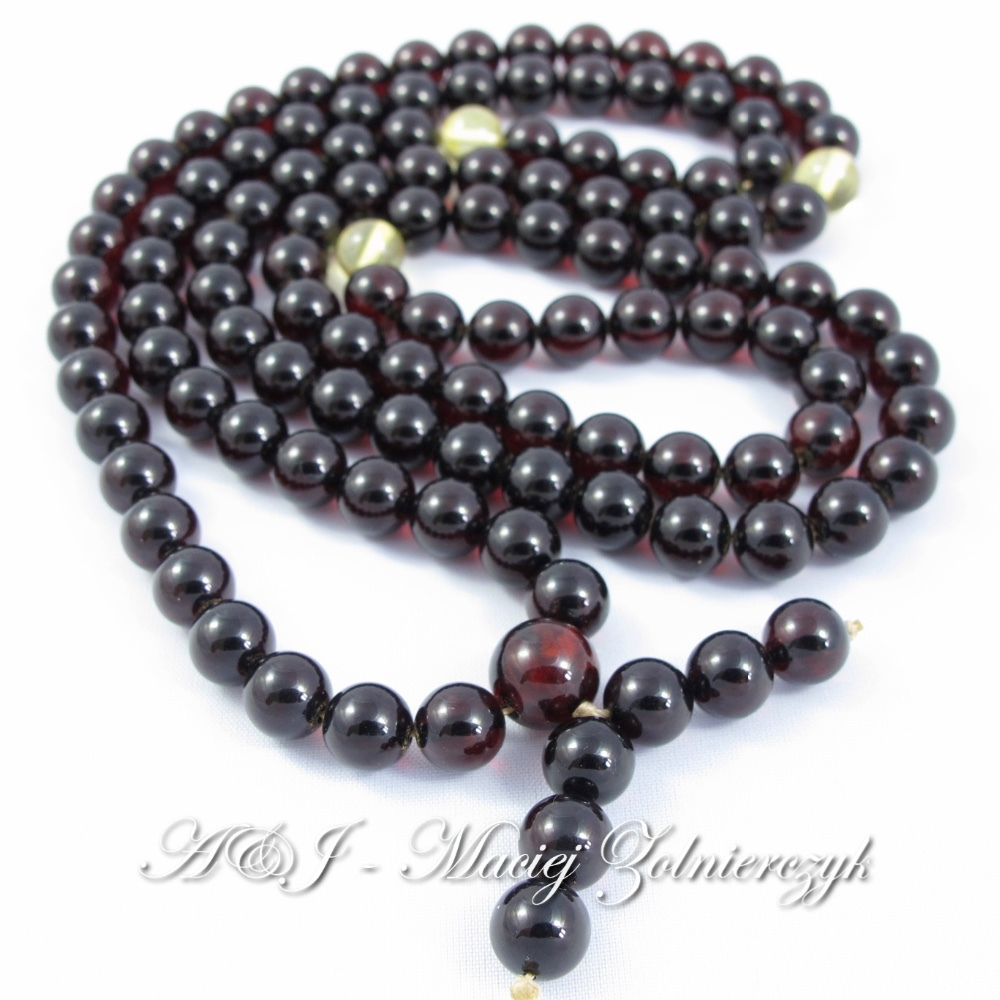 Baltic Amber Buddhist Mala Rosary Chain 108 beads, color: cherry, antic, lemon, Authentic Amber Rosaries From Poland