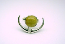 Golden Rutile Round Cabochon Horn Pattern Gemstone Ring, 925 Solid Sterling Silver Ring, Designer Bezel Ring