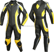 Motorbike Leather Suit (WS-516) Black / Yellow