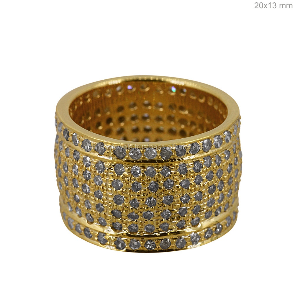 Pave Diamond 14kt Yellow Gold Band Wedding Design Ring Wholesale Gold Jewelry