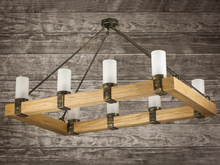 Rustic chandelier light wood rectangle candles ropes fittings metal iron 100cmx60cm