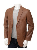 Gentleman Tan Leather Blazer Essential Wardrobe Leather Coat Crossover Style BEST PRICE OFFER FOR AUSTRALIA NEW ZEALAND