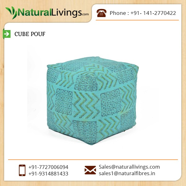 Moroccan Leather Pouf Ottoman Footstool Available in Pastel Green Colour