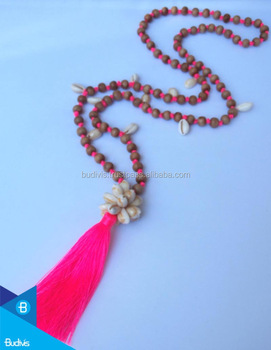 Export to USA Hand Knotted Long Wooden Bead Mala with Cowrie Shell Tassel Necklace Acceptable PayPal