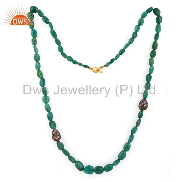 Solid Gold And Sterling Silver Emerald Gemstone Pendant Necklace Manufacturer of Pave Diamond Necklace Jewelry