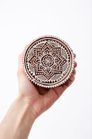 Wooden Printing Blocks Indian Hand Carved Textile Fabric Stamps Handmade Round Hand block Stamp Wooden Stamp