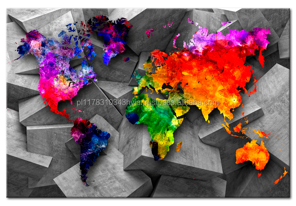 Cork world map 'Cubic world' poster art size 60x40cm digital printing