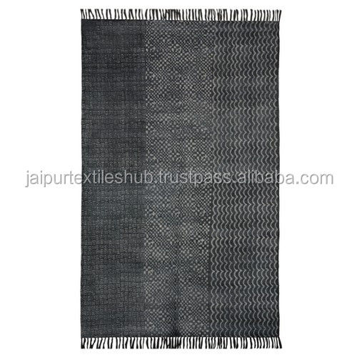 made in india modern striped brown color washable block printed dhurries 4*6 ft Carpet Rug