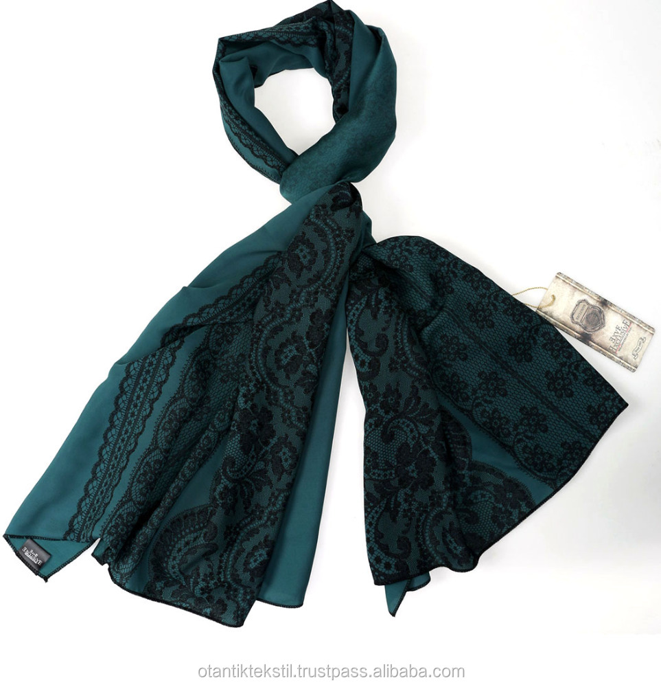 Oil Green Lace Scarf, Printed Silk Scarf Custom Comfortable , Womenn shal pasmina