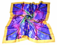 2017 New Pure SIlk digital print square Silk Scarf Custom design print pocket scarf