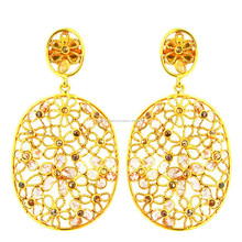 Indian Ethnic Wholesale Jewelry 14k Gold Slice Diamond Vintage Earrings