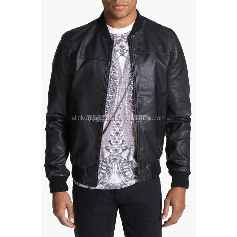 Men Classic Bomber Leather Jacket is crafted from soft