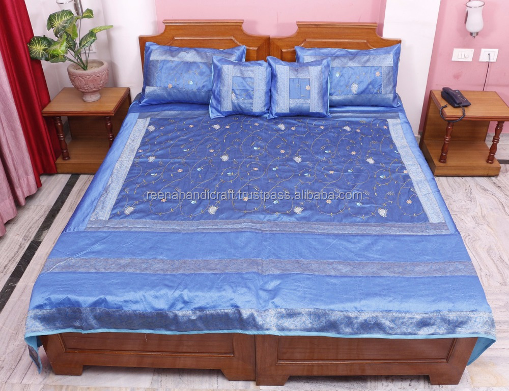 Indian Vintage Silk Bedsheet Embroidered Associated Patch Work Jaipuri Bedspread Bed Cover Throw Blanket PSP02