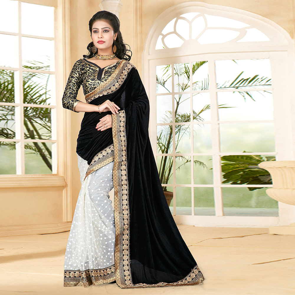 Surat tex Black Colored Velvet & Net Printed Saree With Blouse Pice- BSTM-121.