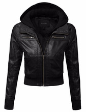 Fashion Stylish Women Sexy Real Leather Sportswear Jacket