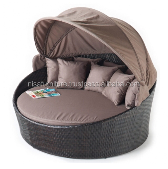 Round Wicker Rattan Daybed with Canopy