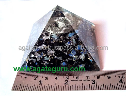 Black Tourmaline Orgone Pyramid With Charge Ring Orgonite for sale