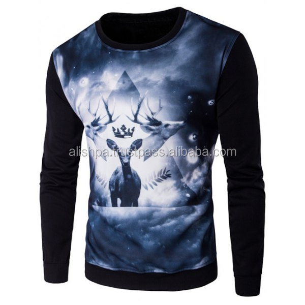Crew Neck 3D Deer Print Long Sleeve Sweatshirt
