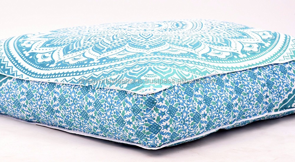 Mandala Large Indian Ottoman Daybed Ombre Floor Cushion Handmade Lounge Seating Ottoman Pillow Cover