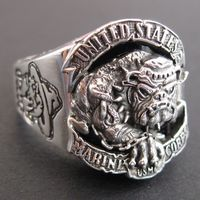 Personalized thai silver ring 925 pure silver bulldog the logo of marine corps ring