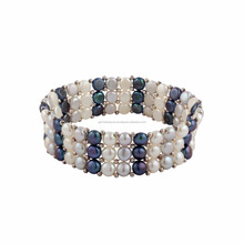 Blue and White pearl stretchable bracelet