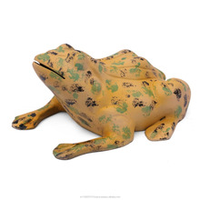 Frog Figurine Metal Aluminium Hand Painted Frogs Miniature Animal Yard Decor Outdoor Sculpture