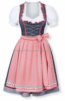 Red and blue jeans check Dirndl Custom Design Trachten Oktoberfest Bavarian Traditional Dirndl For Women