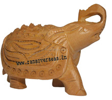 Wooden Full Carved Elephant Trunk Up 3 inch, Decorative Wooden Art Figurines