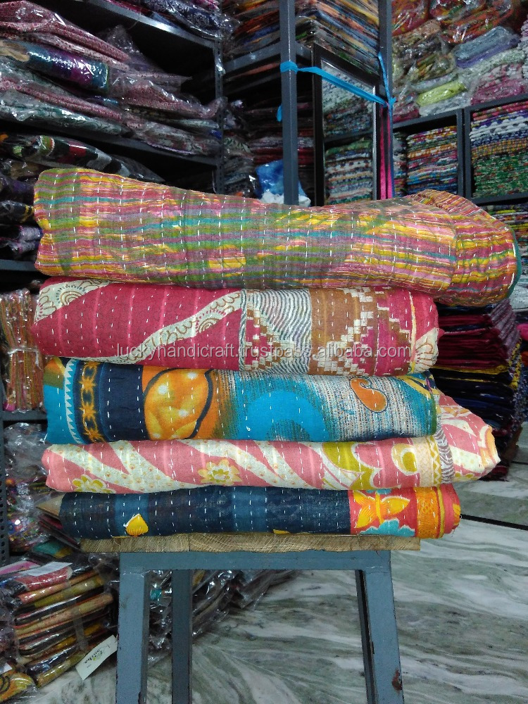 Regular Vintage Hand Stitch Quilt/100-Percent Cotton Quilt/Handmade Quilts For Sale/Ethnic Indian Cotton Quilt 5-Pcs. Set