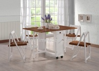 Foldable mobile table set, Malaysia wooden dining table set with wheels, Gateleg table with folding chairs