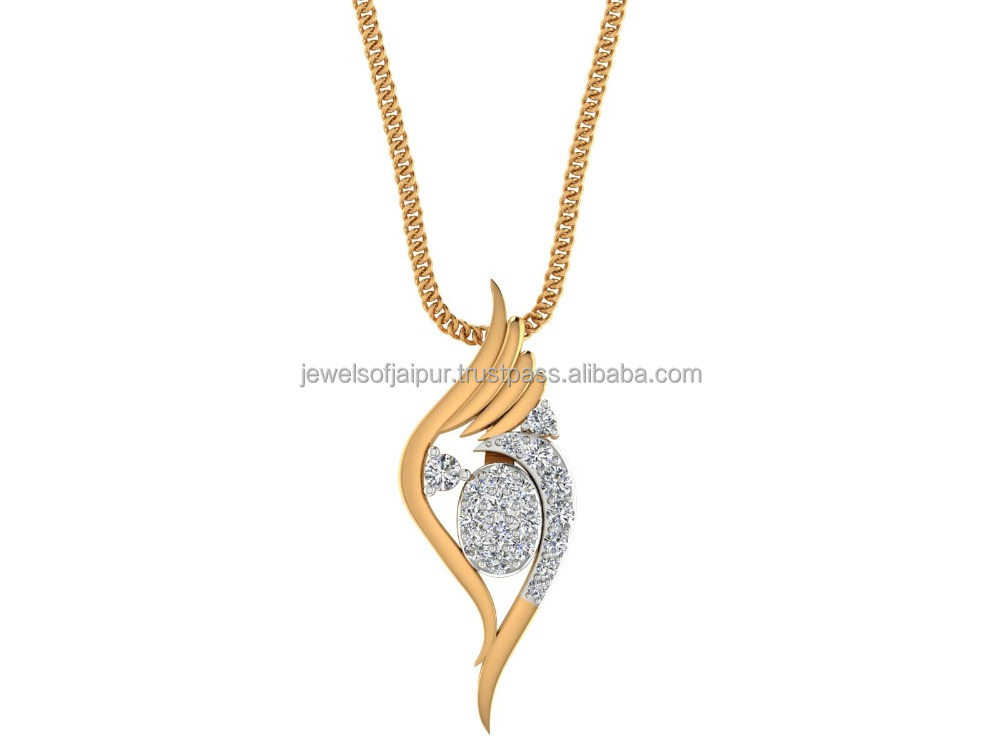 Fashion Angel 14k Yellow Gold Natural Certified Diamond Wings Party Wear Unique Hallmark Jewelry Pendant