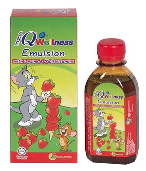 1Q WELLNESS EMULSION WITH LYSINE & MULTIVITAMINS (STRAWBERRY FLAVOUR) 170ML)
