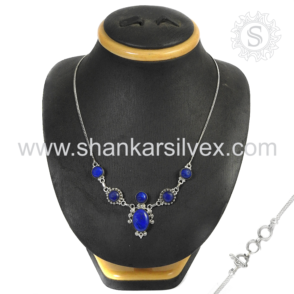 Natural Gemstone Jewelry Blue Sun Sitara Pearl Necklace Wholesale Necklace 925 Jewelry Indian Silver Jewelry