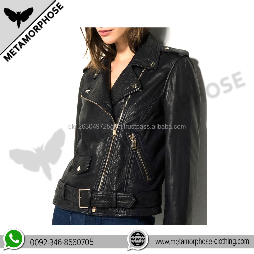 Custom Made Women Motorcycle Leather Jackets / Zipper Womens Leather Jackets