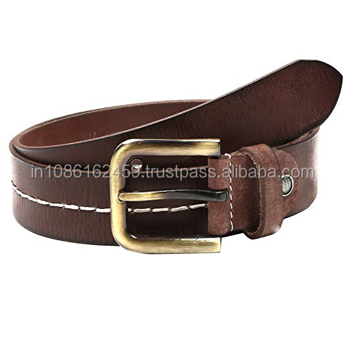 Casual Stitched Leather Belt